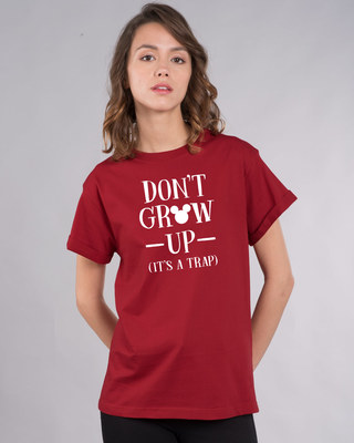 Shop Mickey Don't Grow Up Boyfriend T-Shirt (DL)-Front