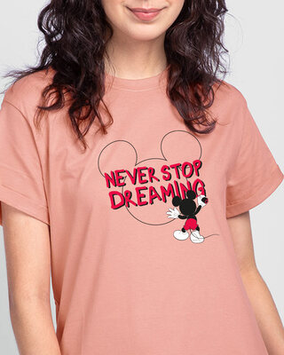 Shop Mickey Dreaming Boyfriend T-Shirt (DL)-Front