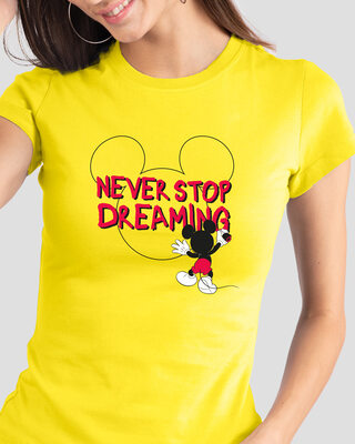 Shop Mickey Dreaming Half Sleeve T-Shirt (DL)-Front