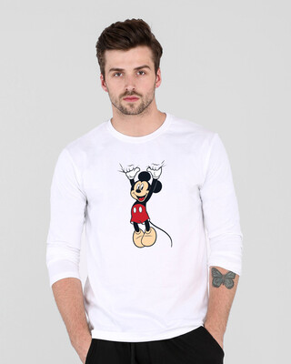 Shop Mickey Hanging Full Sleeve T-Shirt (DL) White-Front