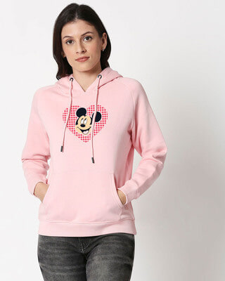 Shop Mickey Love Dots Hoodie Sweatshirt-Front