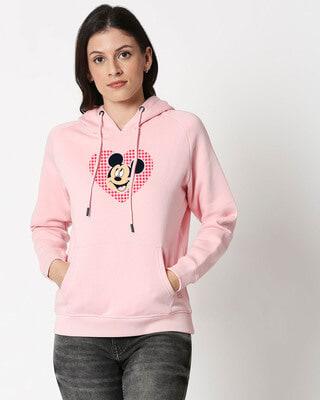 Shop Mickey Love Dots Hoodie Sweatshirt-Front