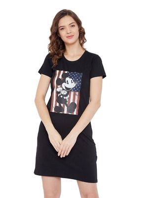 Shop Mickey Mouse Family Round Neck Short Sleeves Graphic Print - Black-Front