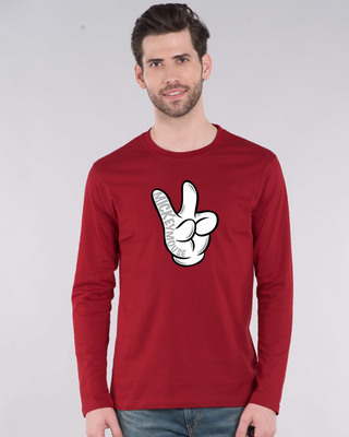 Shop Mickey Peace Full Sleeve T-Shirt (DL)-Front