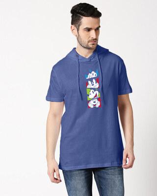 Shop Mickey Pop Block Half Sleeve Hoodie T-shirt-Front