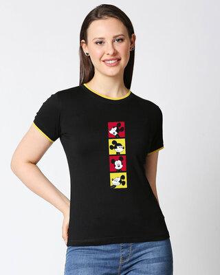 Shop Mickey Pop Block Half sleeve Printed Rib T-shirt(DL)-Front