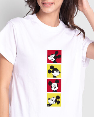 Shop Mickey Pop Blocks Boyfriend T-Shirts White (DL)-Front