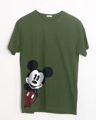white stub Shop Mickey Says Hi Half Sleeve T-Shirt (DL)-Front 67e7431db