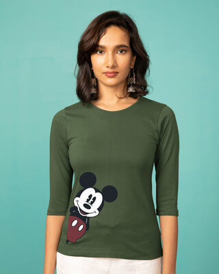 Shop Mickey Says Hi Round Neck 3/4th Sleeve T-Shirt (DL)-Front