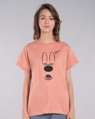 Shop Mickey Sleepy Boyfriend T-Shirt (DL)-Front