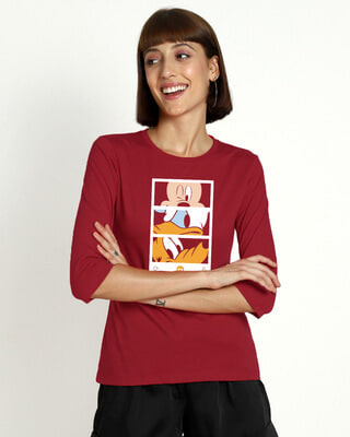 Shop Mickey Trio Call Round Neck 3/4th Sleeve T-Shirt (DL)-Front