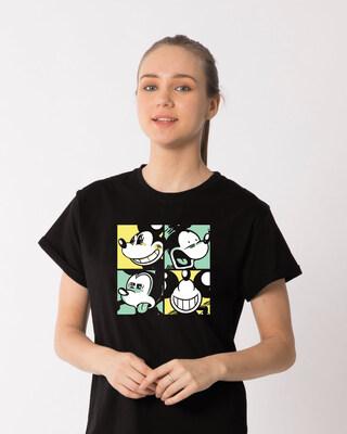 Shop Mickey Window Mood Boyfriend T-Shirt (DL)-Front
