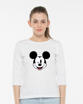 Shop Mickey Wink Round Neck 3/4th Sleeve T-Shirt-Front