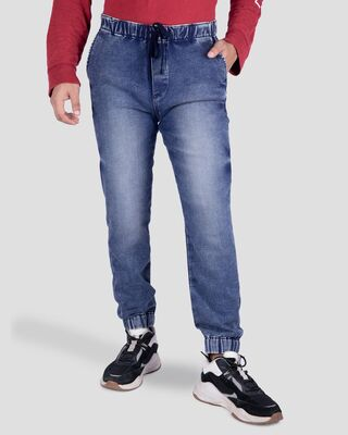 Shop Midnight Blue Knitted Denim Joggers-Front