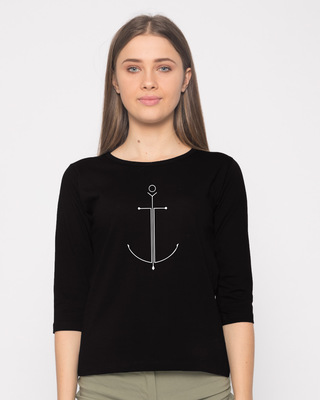 Shop Minimal Anchor Round Neck 3/4th Sleeve T-Shirt-Front