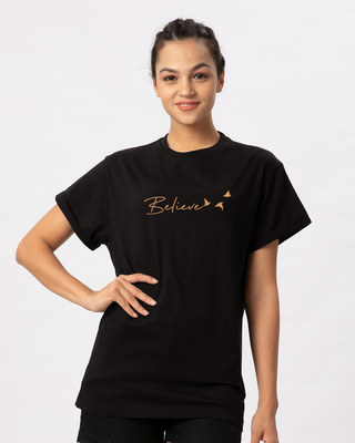 735794eef14 white_stub Shop Minimal Believe Boyfriend T-Shirt-Front. BEST SELLER