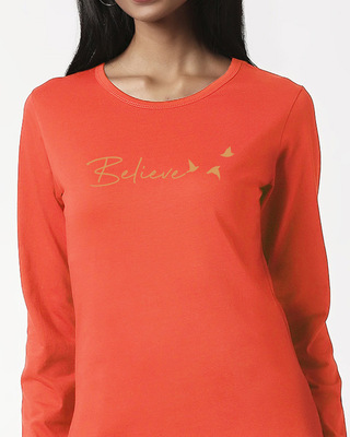 Shop Minimal Believe Full Sleeves T Shirt-Front