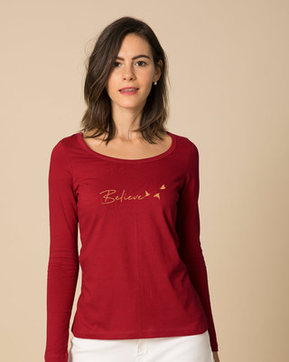 Shop Minimal Believe Scoop Neck Full Sleeve T-Shirt-Front
