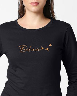 Shop Minimal Believe Full Sleeve T-Shirt-Front