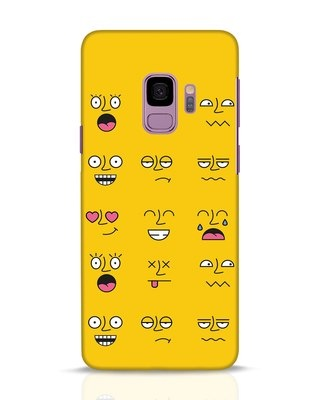 Shop Minimal Emoji Samsung Galaxy S9 Mobile Cover-Front