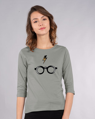 Shop Minimal Harry Potter Round Neck 3/4th Sleeve T-Shirt (HPL)-Front