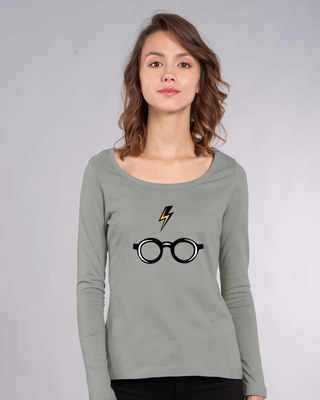 Shop Minimal Harry Potter Scoop Neck Full Sleeve T-Shirt (HPL)-Front