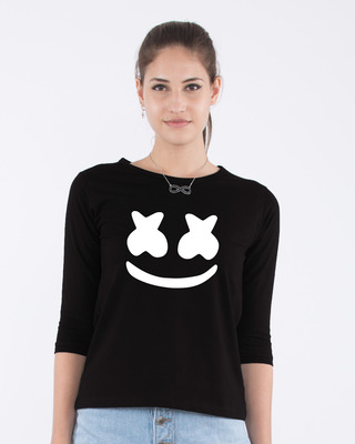 Shop Minimal Marshmello Round Neck 3/4th Sleeve T-Shirt-Front