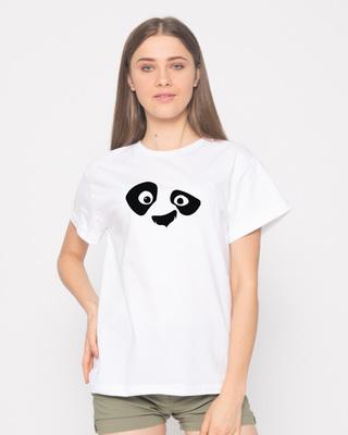 Shop Minimal Panda Boyfriend T-Shirt-Front