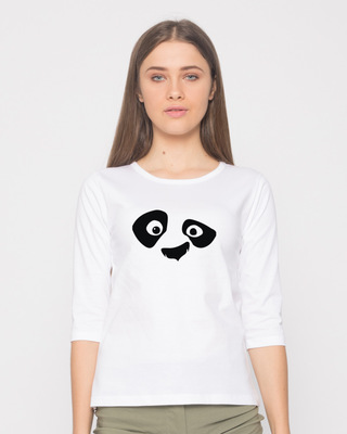 Shop Minimal Panda Round Neck 3/4th Sleeve T-Shirt-Front