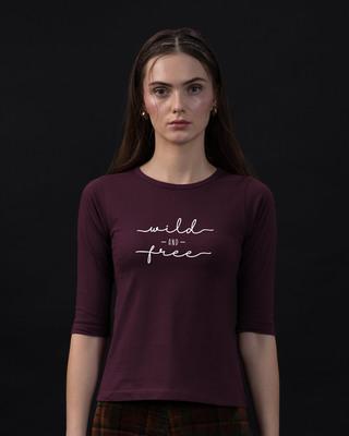 Shop Minimal Wild Round Neck 3/4th Sleeve T-Shirt-Front