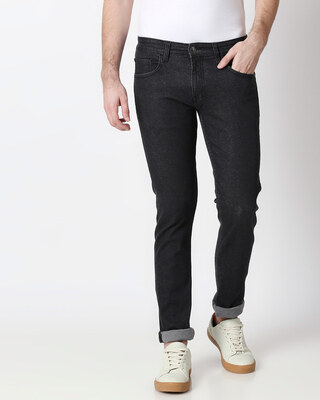 Shop Mink Grey Mid Rise Stretchable Men's Jeans-Front