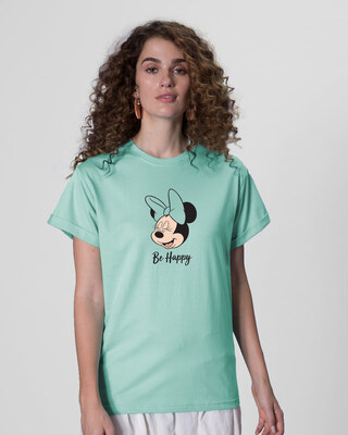 Shop Minnie Be Happy Boyfriend T-Shirt (DL)-Front