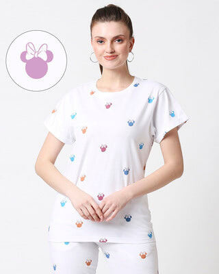 Shop Minnie Colorful Face (DL) Boyfriend AOP T-Shirt-Front