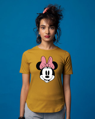 Shop Minnie Face Basic Round Hem T-Shirt (DL)-Front