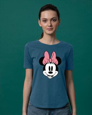 Shop Minnie Face Basic Round Hem T-Shirt (DL)-Front