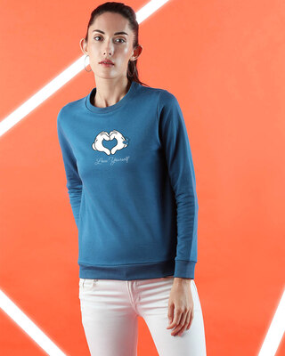 Shop Minnie Love Yourself Fleece Sweater AW19 (DL) Digital Teal -Front