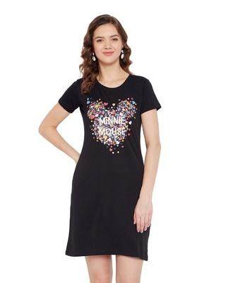 Shop Minnie Round Neck Short Sleeves Graphic Print Sleep Shirts - Black-Front