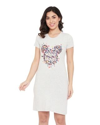 Shop Minnie Round Neck Short Sleeves Graphic Print Sleep Shirts - White-Front