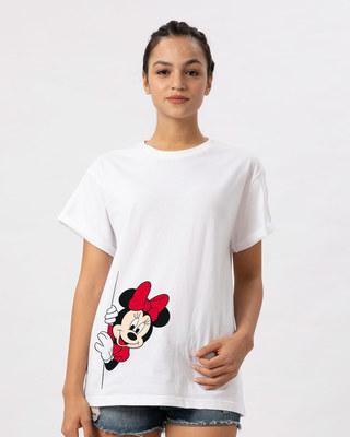 Shop Minnie Says Hi Boyfriend T-Shirt (DL)-Front