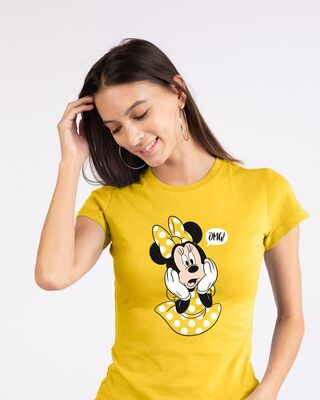 Shop Minnie Says Omg Half Sleeve T-Shirt (DL)-Front