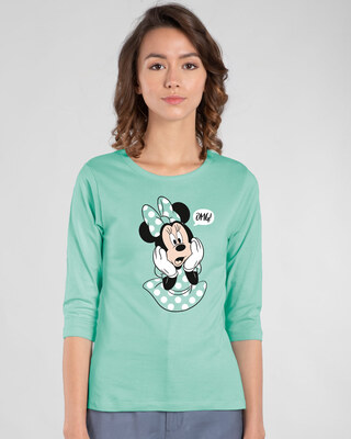 Shop Minnie Says Omg Round Neck 3/4th Sleeve T-Shirt (DL)-Front