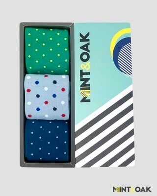 Shop Mint & Oak Gift box of 3 Socks - POLKA LOVE-Front