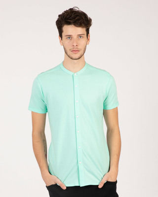 Shop Mint Green Mandarin Collar Pique Shirt-Front
