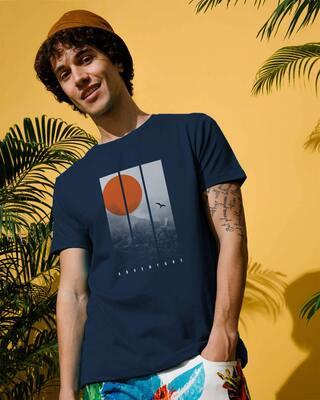 Shop Misty Hills Halftone Half Sleeve T-Shirt Navy Blue-Front