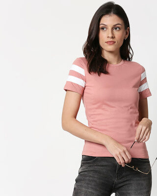 Shop Misty Pink - White Double Tape T-Shirt-Front