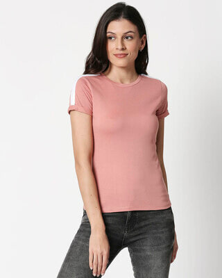 Shop Misty Pink -White Shoulder Sleeve T-Shirt-Front