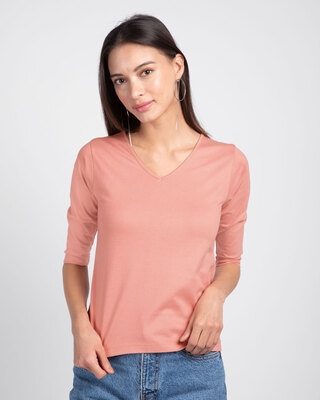 Shop Misty Pink 3/4 V Neck T-Shirt-Front