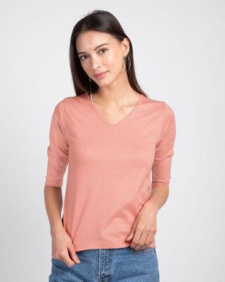 Shop Misty Pink 3/4 V Neck T-Shirt-Front