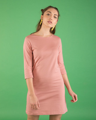 Shop Misty Pink Boat Neck 3/4th Sleeve Dress-Front