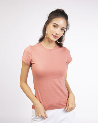 Shop Misty Pink Half Sleeve T-shirt-Front